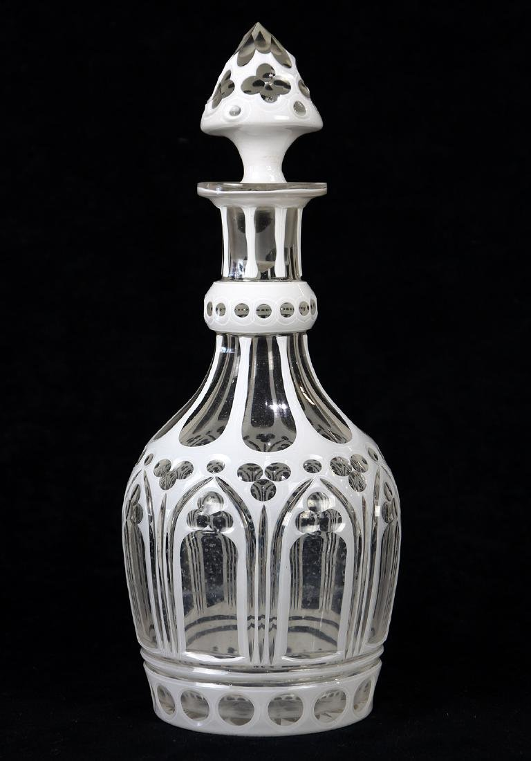 Bohemian cut to clear glass decanter, 19th century,