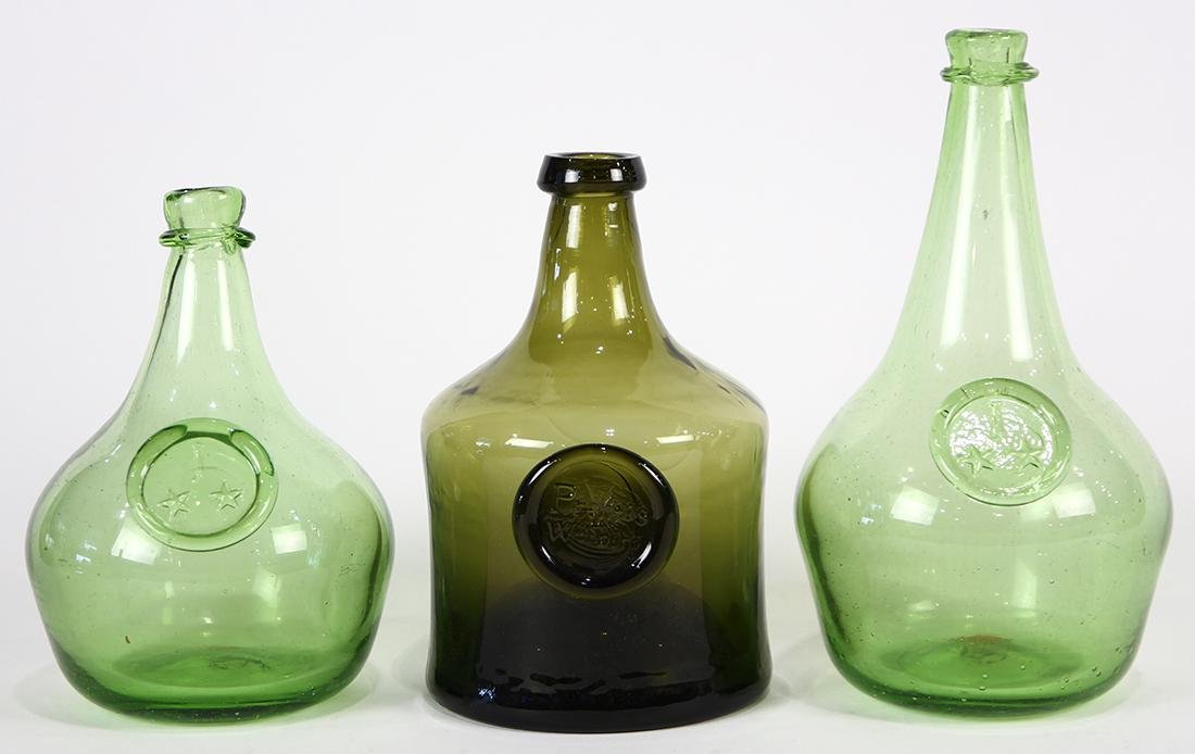 (lot of 3) Early hand blown glass wine bottles, 18th