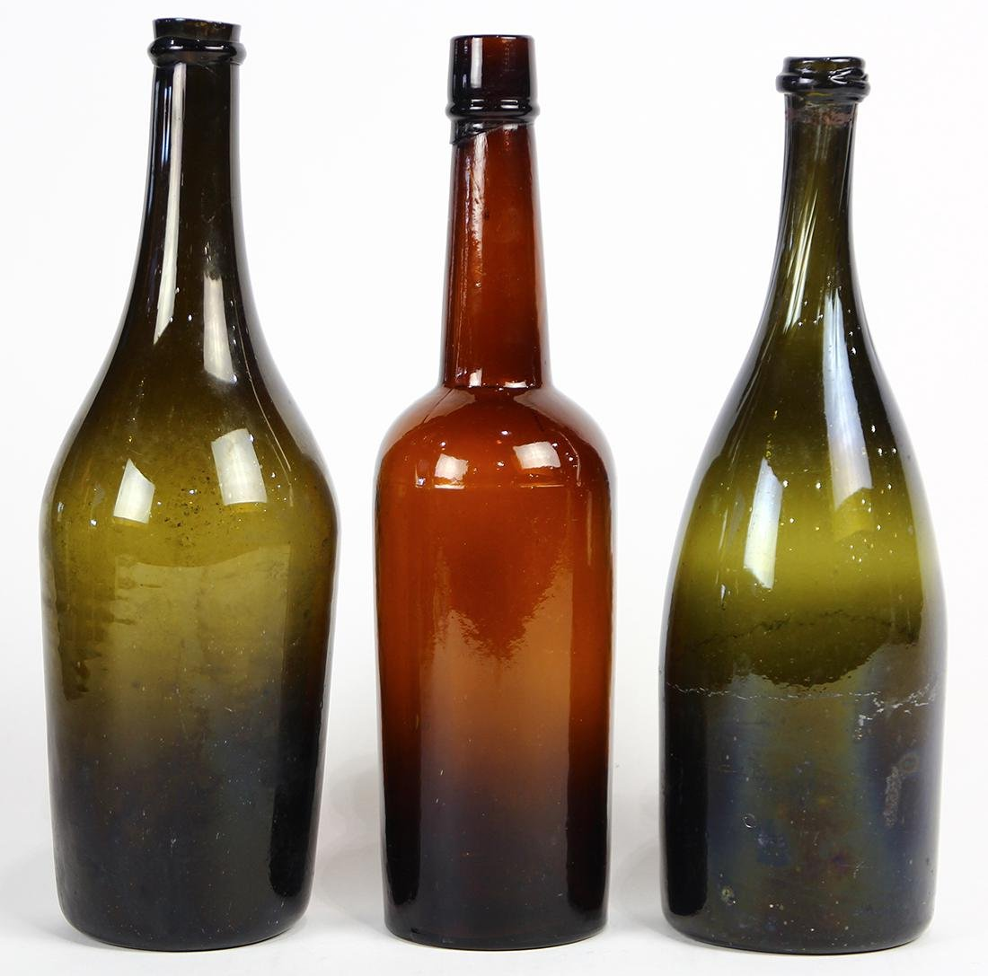 (lot of 3) Early blown glass wine bottles, each having