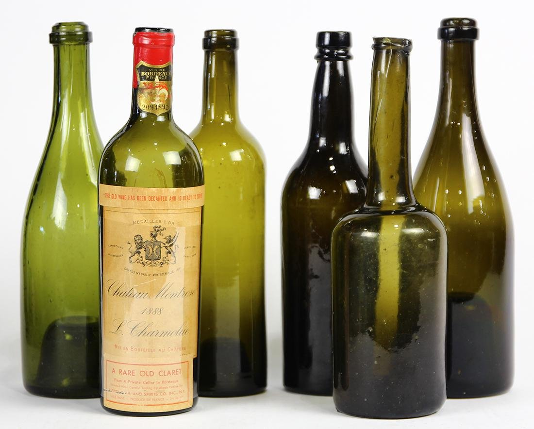(lot of 6) Early wine bottles, including hand blown