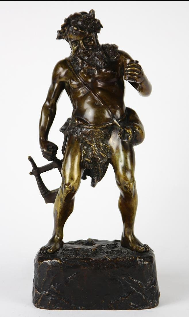 Continental patinated bronze allegorical Bacchus