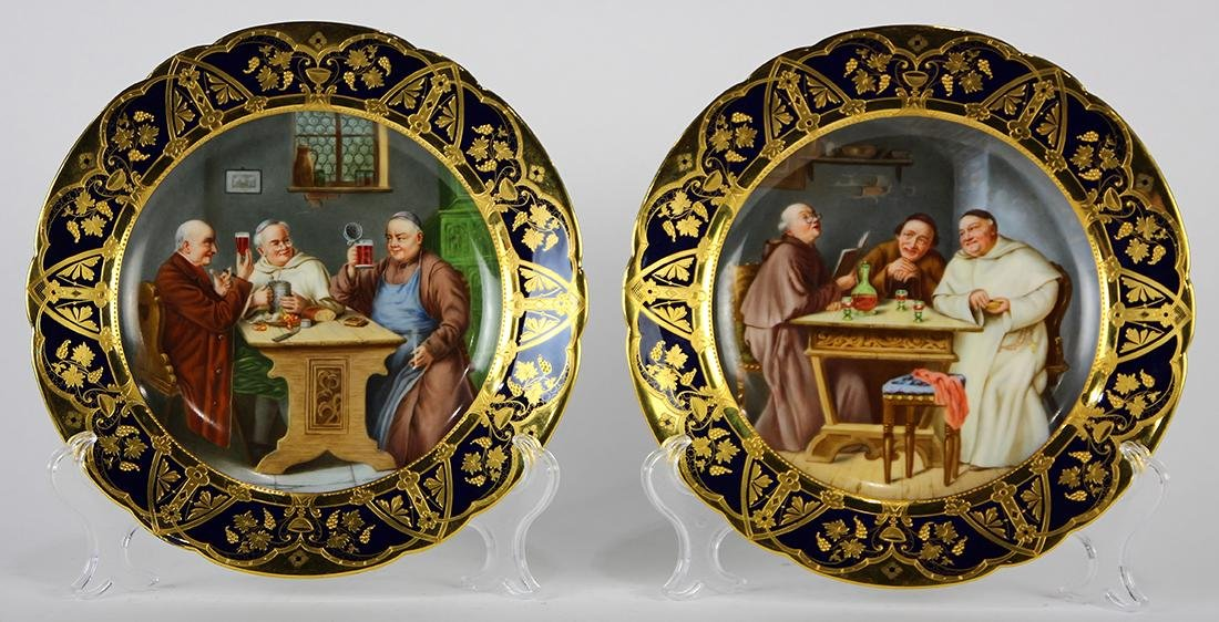 (lot of 2) German Dresden hand painted and partial gilt