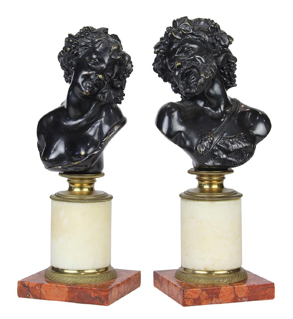 (lot of 2) Continental patinated bronze busts, of a