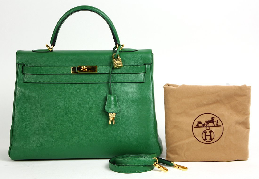 Hermes green leather Kelly handbag