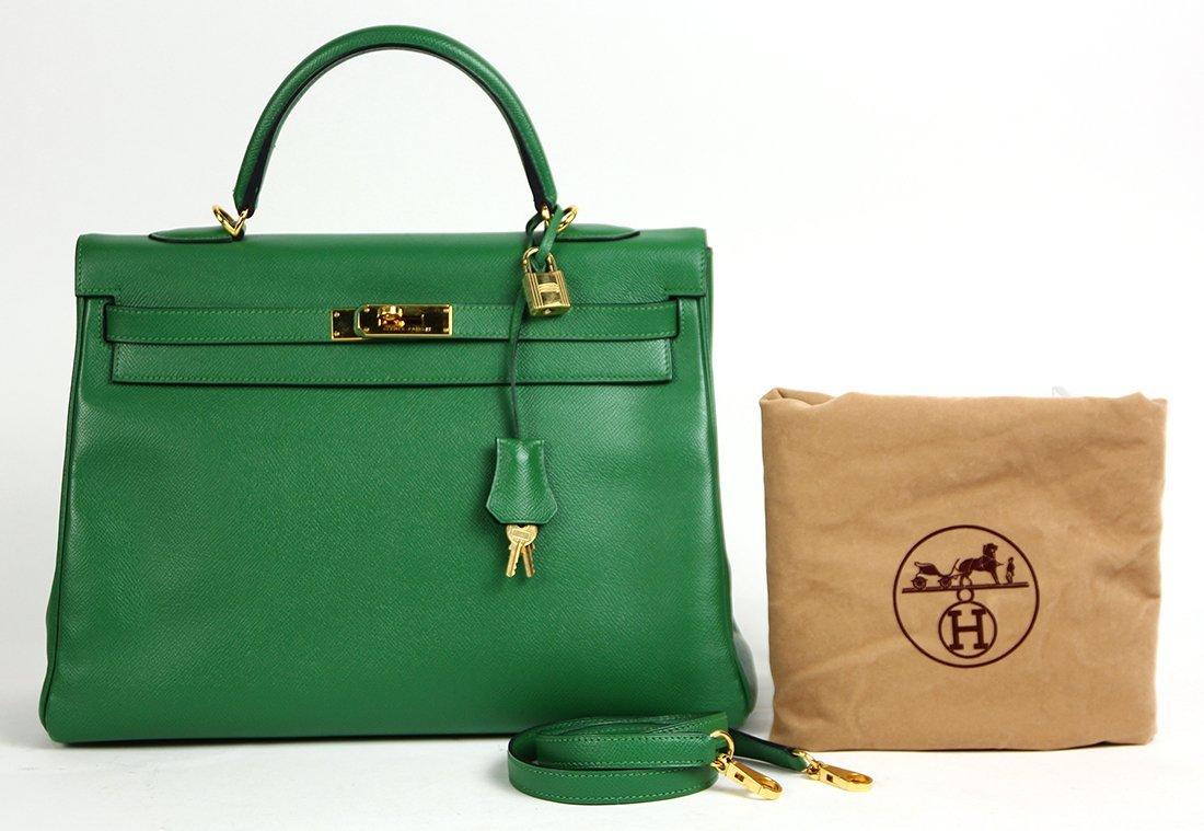 Hermes green leather Kelly handbag