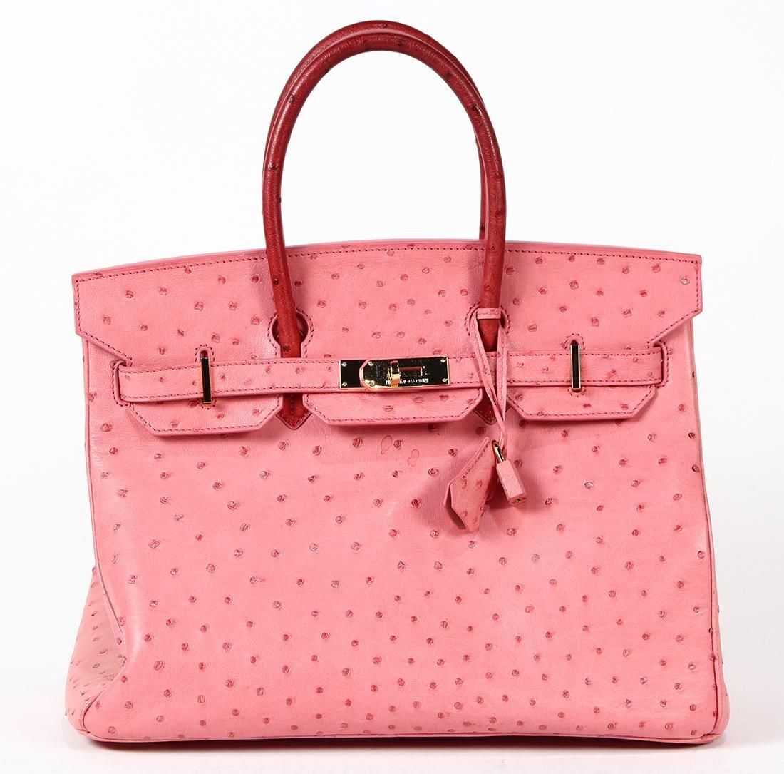 Hermes pink ostrich Birkin 35 handbag