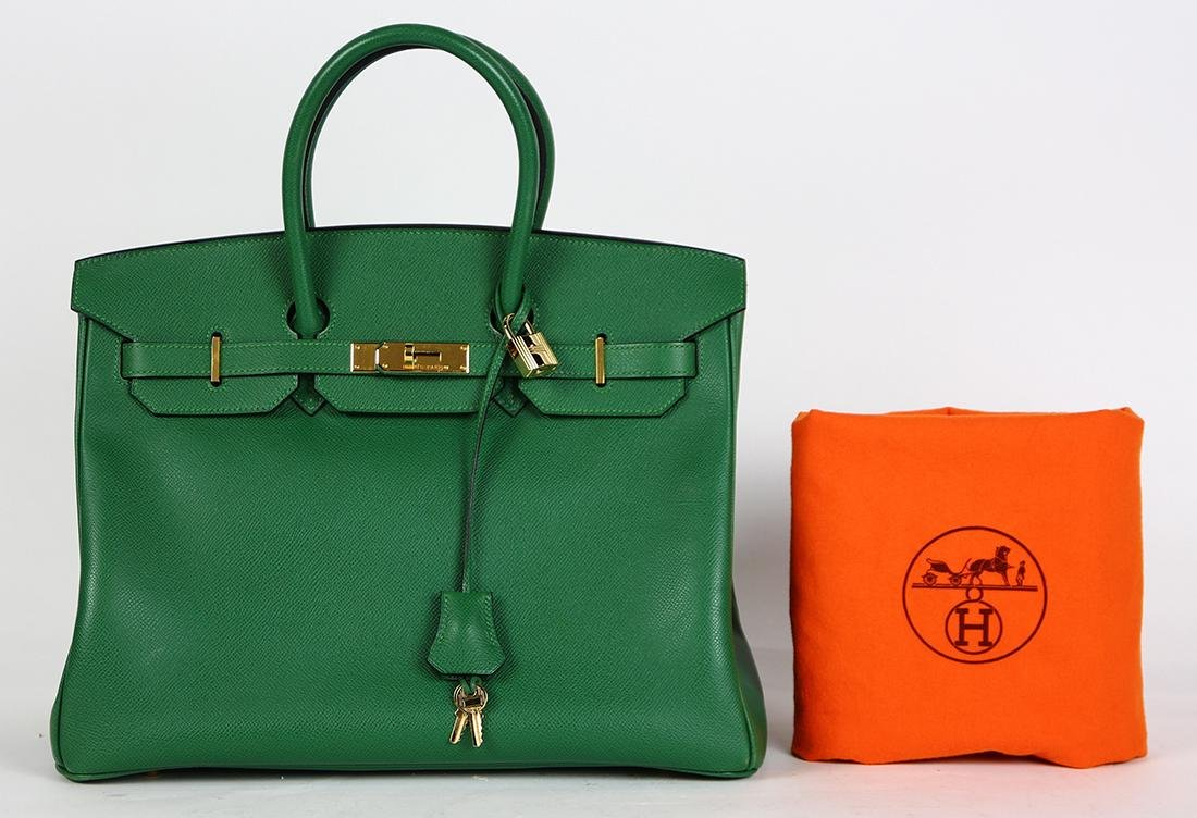 Hermes green leather Birkin 35 handbag