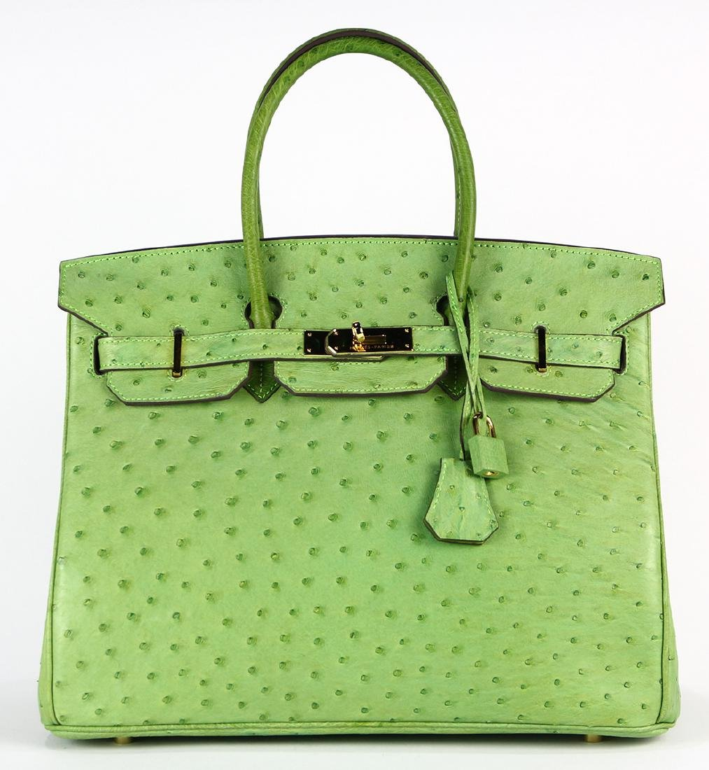 Hermes green ostrich Birkin 35 handbag