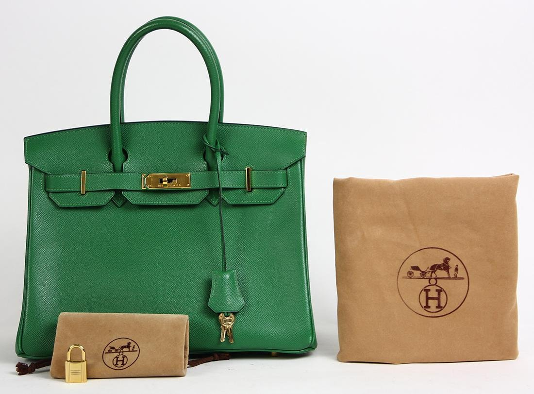Hermes green leather Birkin 30 handbag