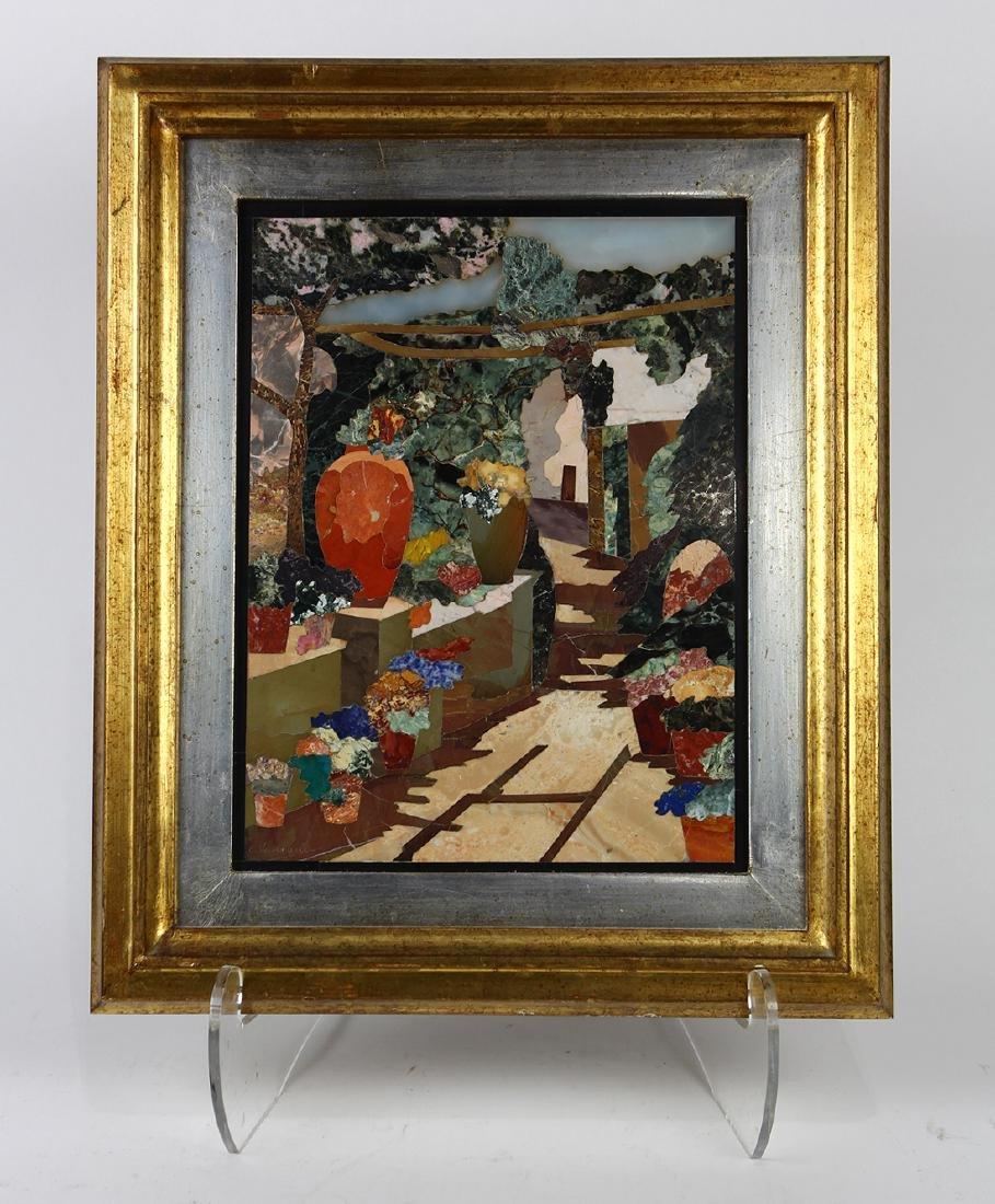 Italian gilt framed pietra dura panel