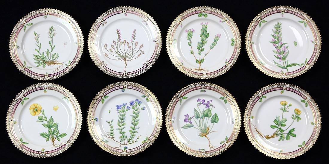 (lot of 8) Royal Copenahagen Flora Danica bread plates