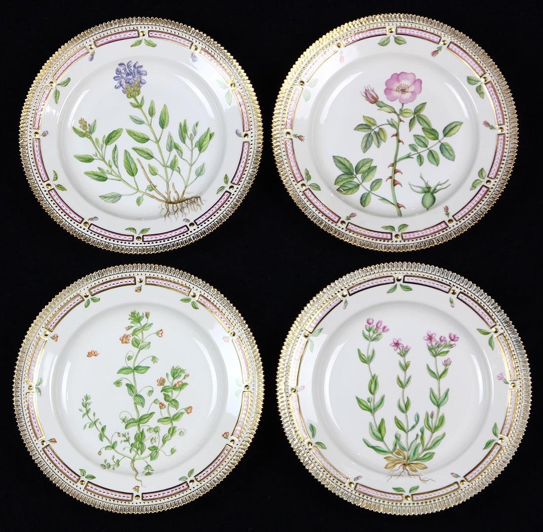 (lot of 4) Royal Copenahagen Flora Danica dinner plates