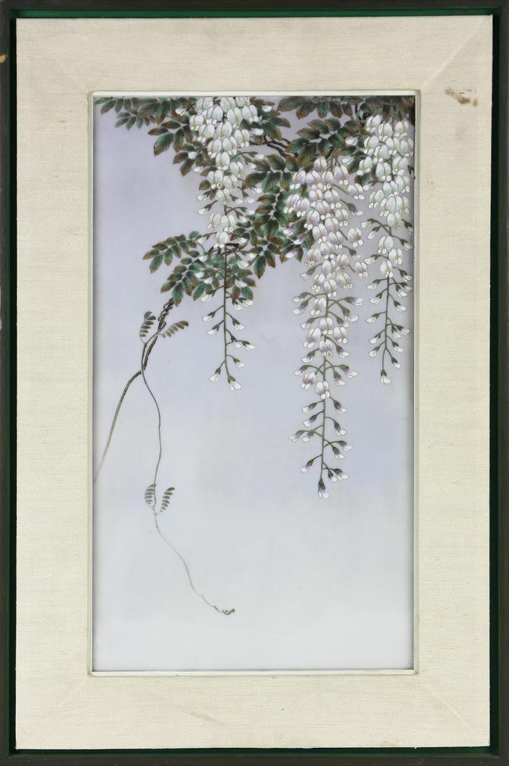 Framed hand painted porcelain plaque, depicting