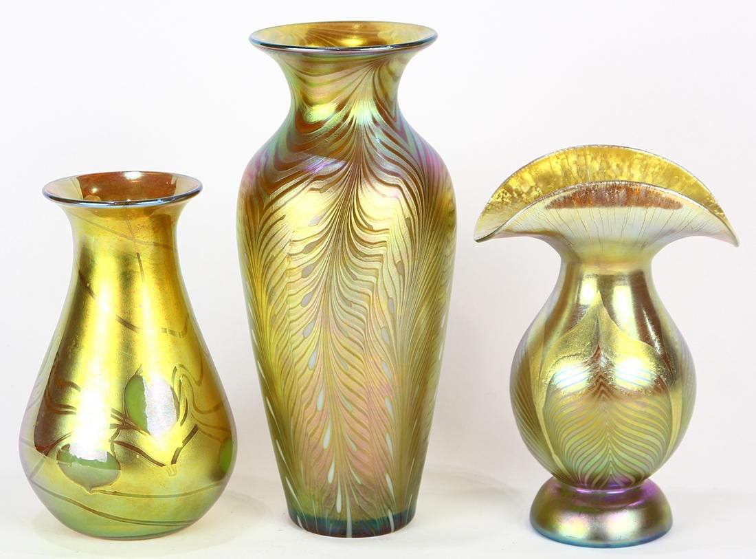 (lot of 3) Lundberg Studios art glass group