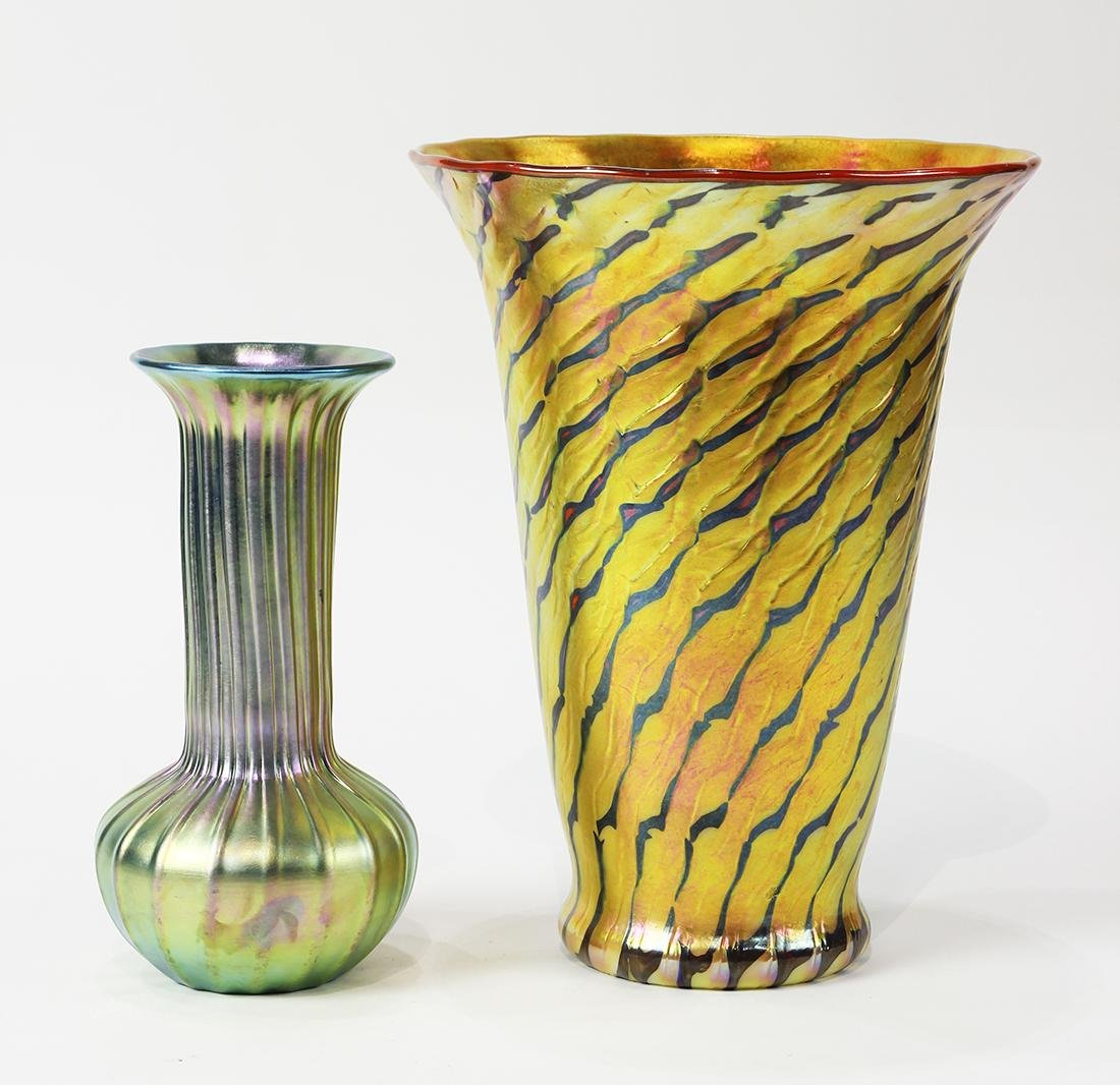 (lot of 2) Lundberg Studios art glass group, consisting