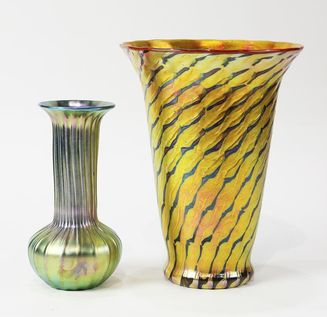 (lot of 2) Lundberg Studios art glass group, consisting