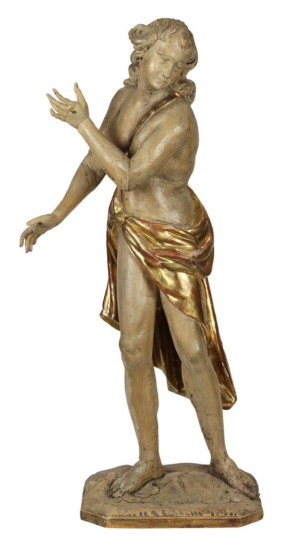 Rococo style partial gilt and painted figural sculpture
