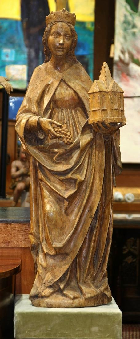 Continental Gothic style carved wood Santos figure,
