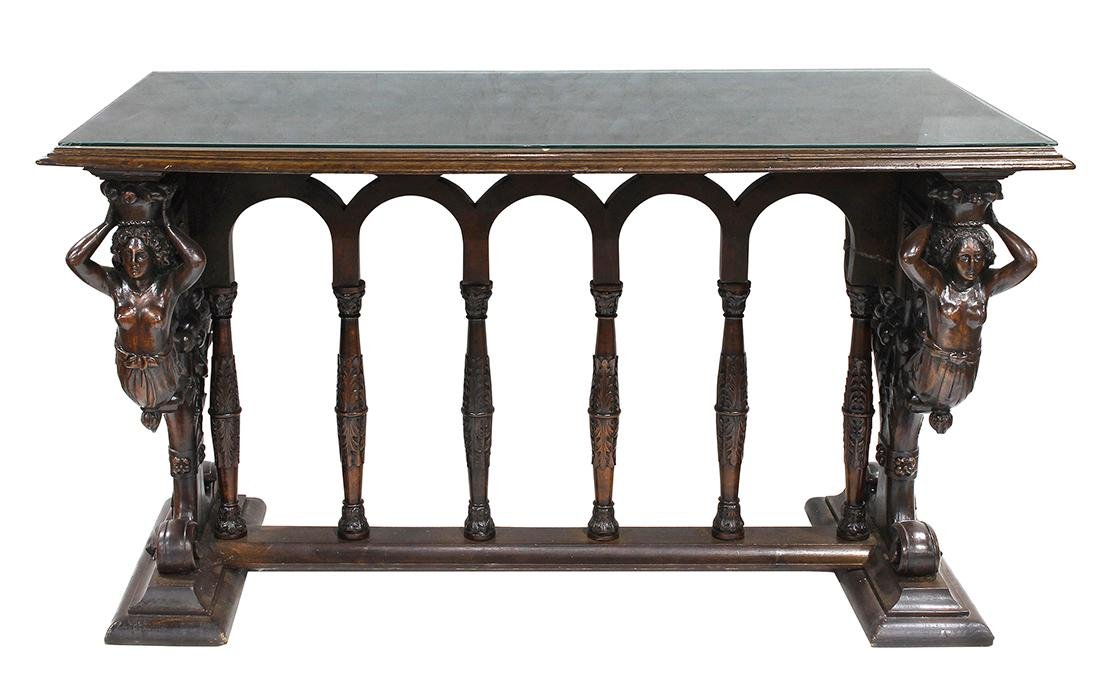 Italian Renaissance style carved walnut library table