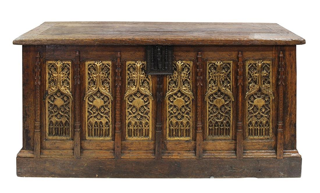 Continental oak coffer, 17th century, executed in the