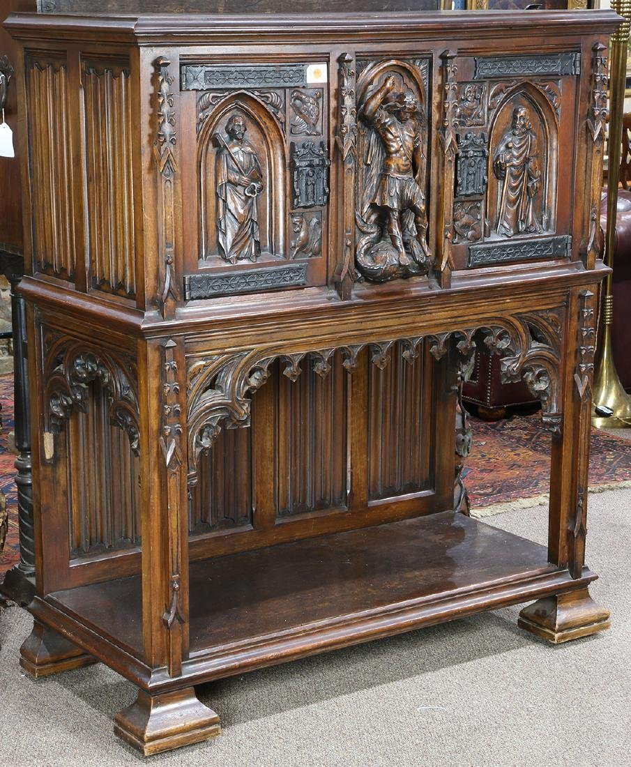 Continental Gothic Revival court cabinet, circa 1870,