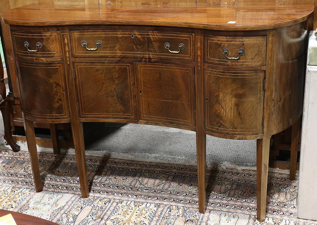 Federal mahogany sideboard, having a serpentine top,