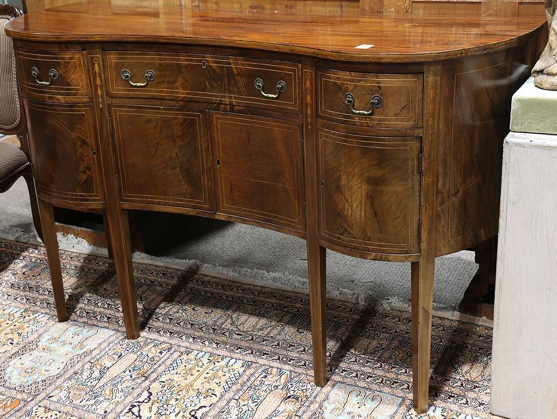 Federal mahogany sideboard, having a serpentine top, - 2