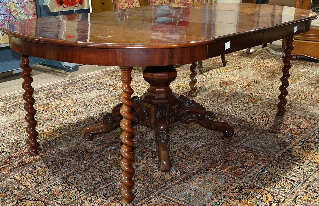 Transitional Regency extension mahogany dining table