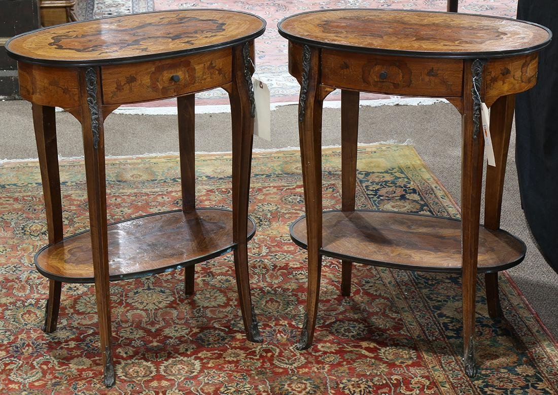 Pair of marquetry decorated Louis XV style occasional