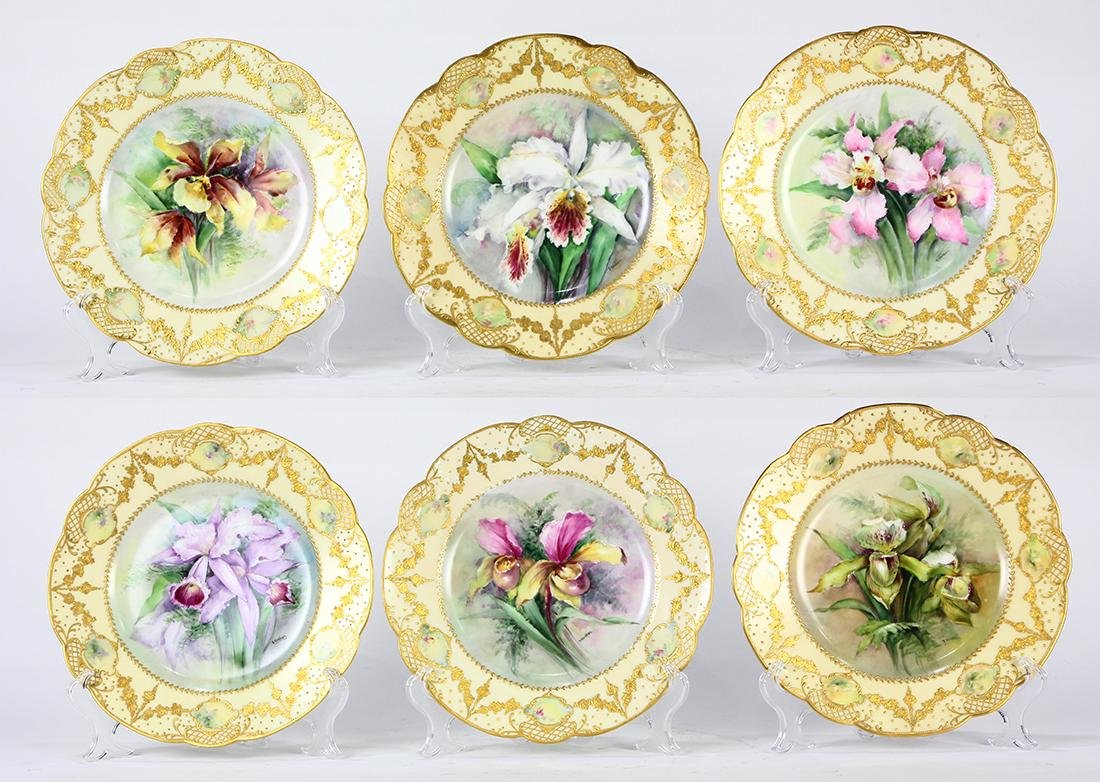 (lot of 6) Haviland Limoges polychrome decorated