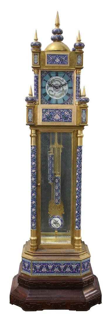 Custom cloisonne and gilt bronze tall case clock