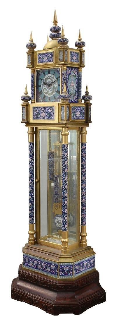 Custom cloisonne and gilt bronze tall case clock - 2