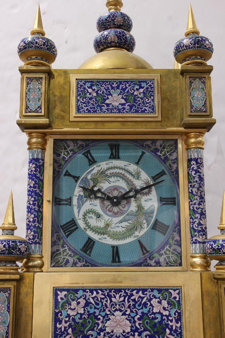 Custom cloisonne and gilt bronze tall case clock - 3