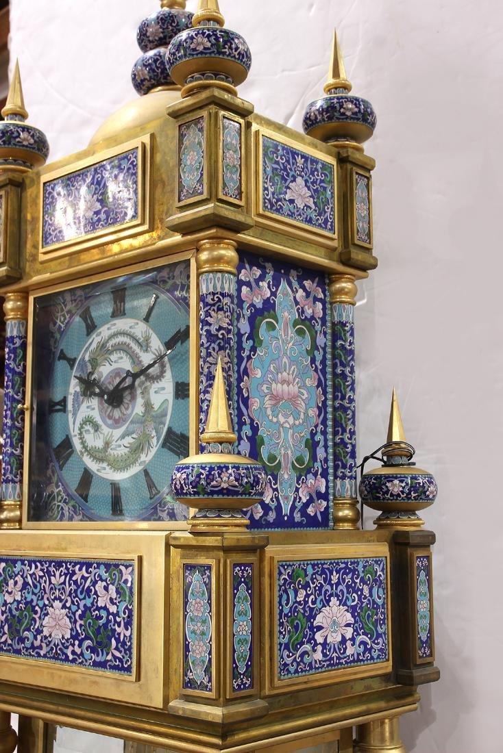 Custom cloisonne and gilt bronze tall case clock - 4