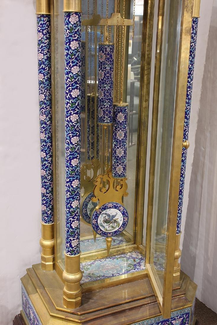 Custom cloisonne and gilt bronze tall case clock - 5