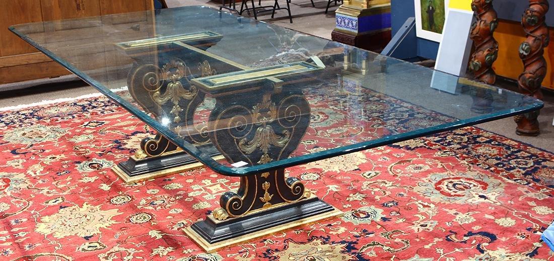 Italian Rococo style ebonized and partial gilt dining