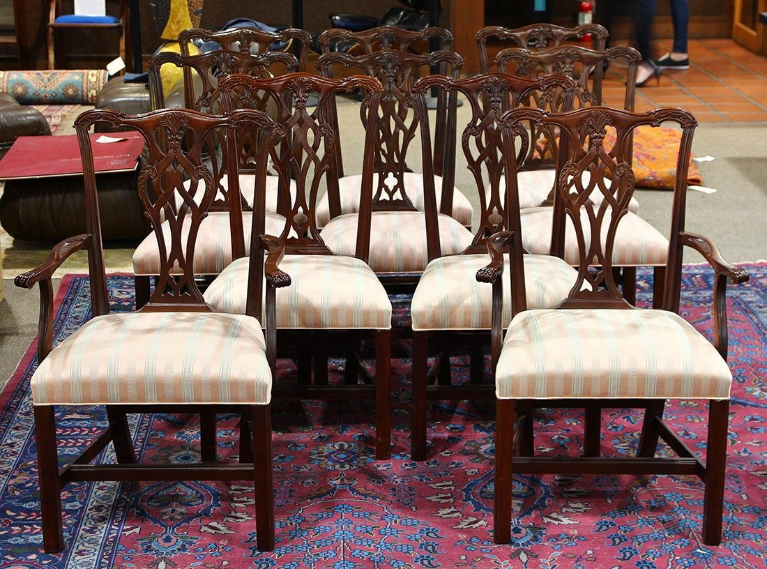 (lot of 10) Chippendale style dining chairs executed by
