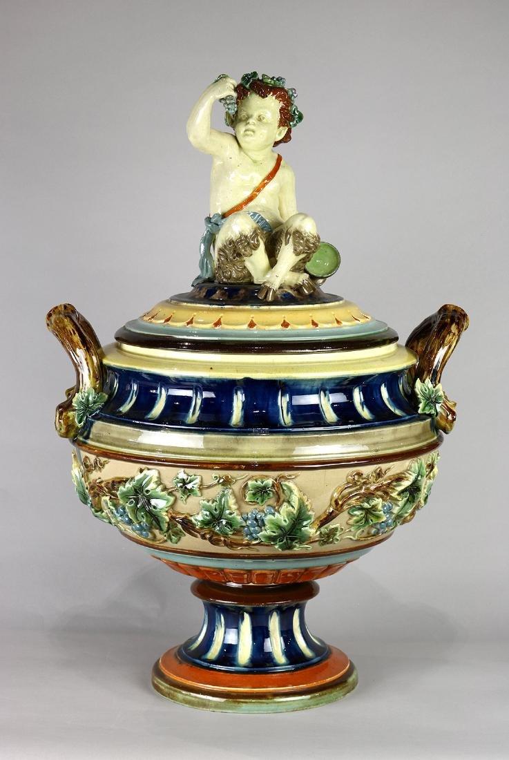 Continental majolica lidded urn circa 1860, having a