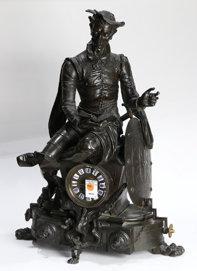 Continental bronze figural mantle clock, depicting Don
