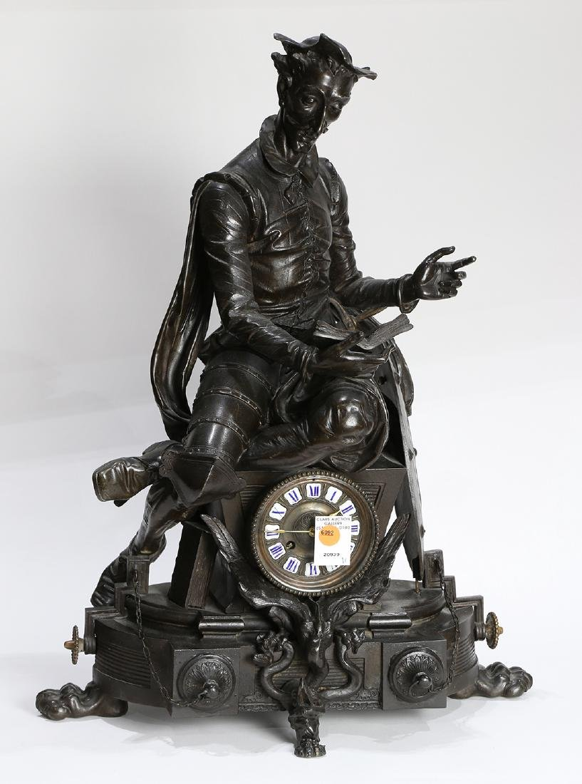 Continental bronze figural mantle clock, depicting Don - 2
