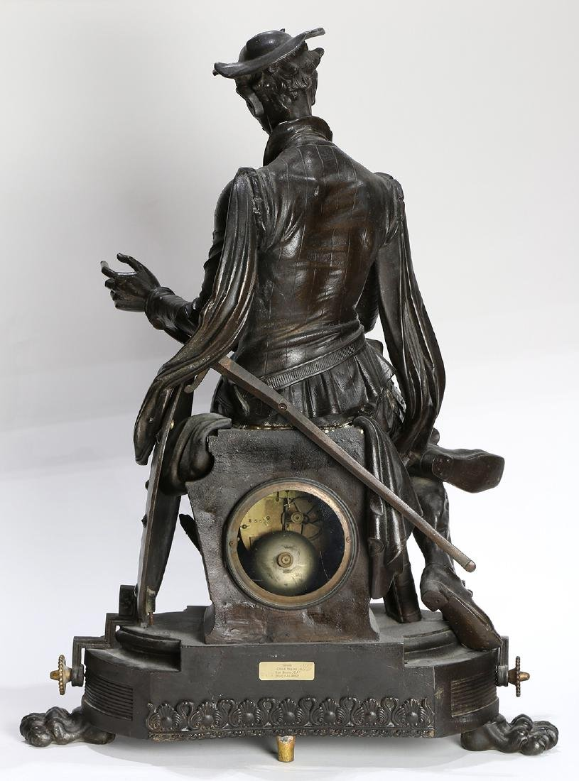 Continental bronze figural mantle clock, depicting Don - 4