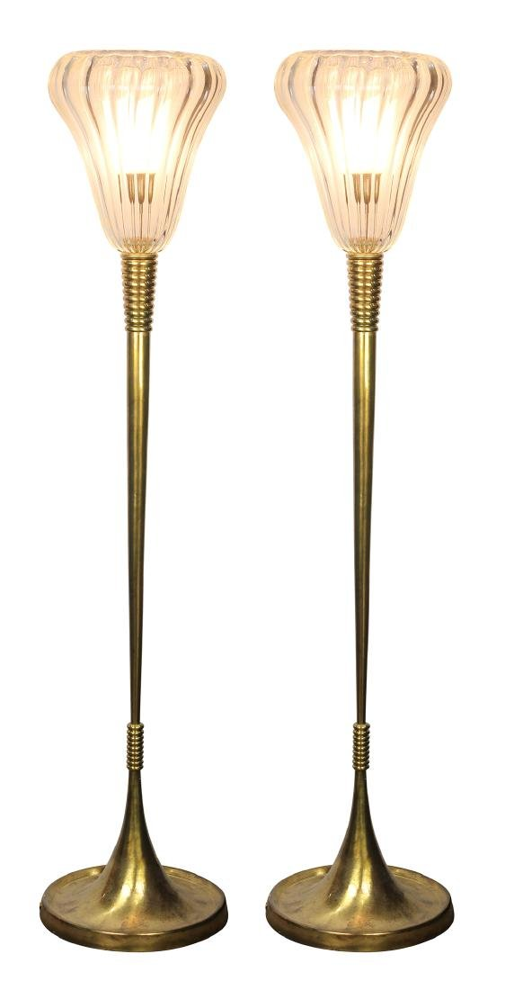 Pair of Modern custom designed brass floor lamps