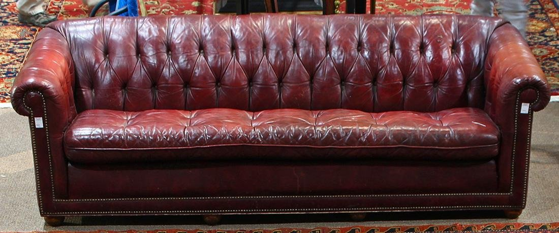 Chesterfield Burgundy Leather Sofa