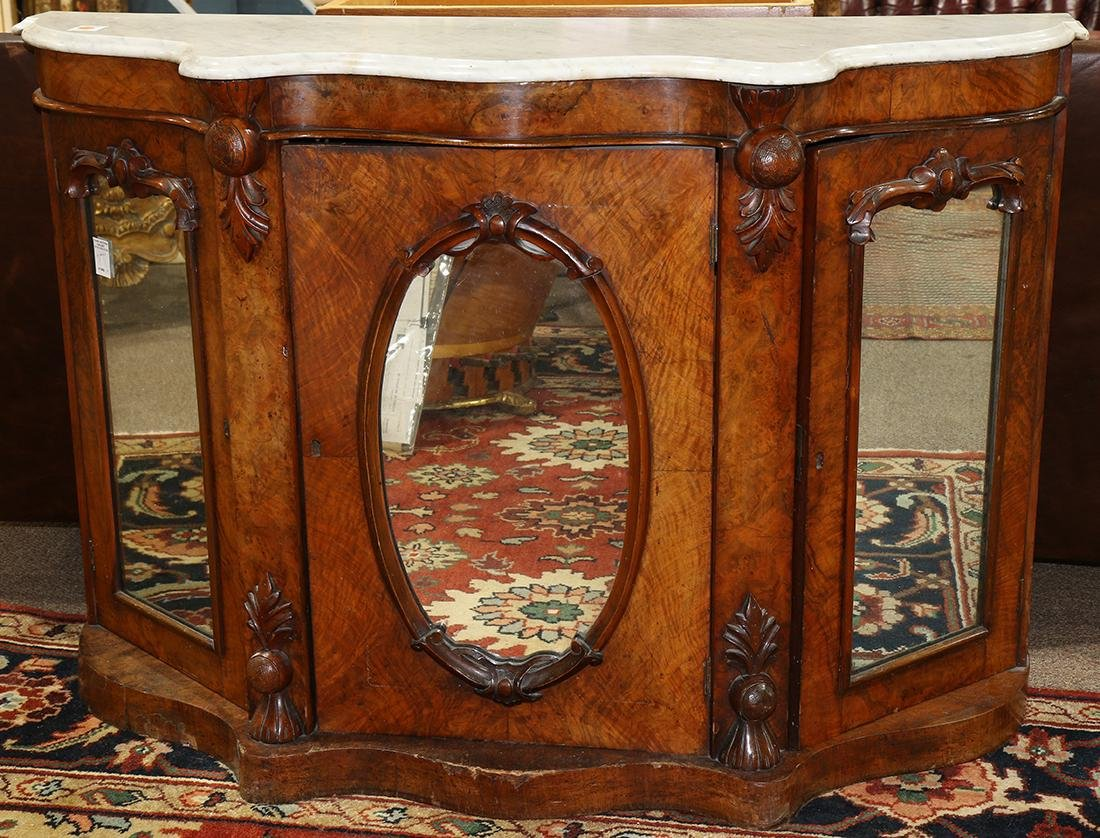 English Victorian marble top walnut commode