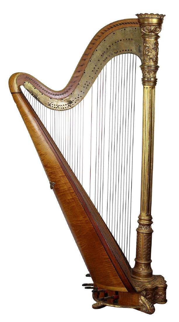 (lot of 2) Lyon & Healy concert grand harp, Chicago,