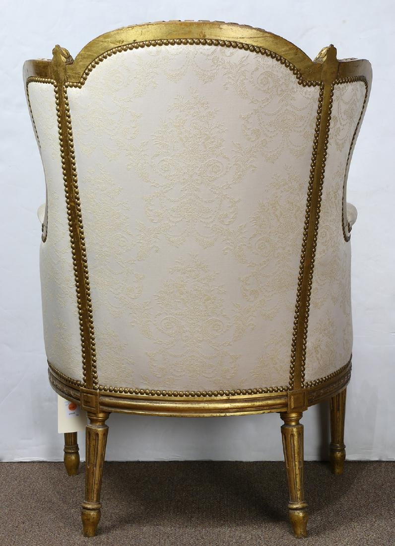 Louis XV style giltwood carved wing back bergere, - 3