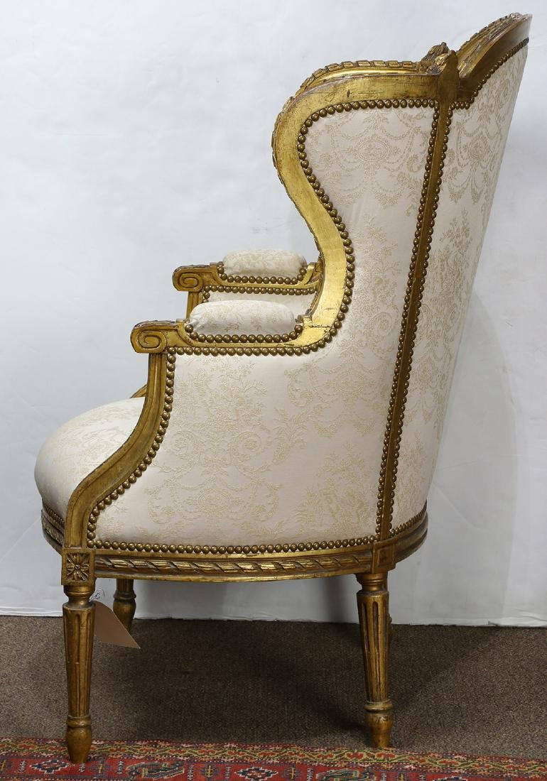 Louis XV style giltwood carved wing back bergere, - 4