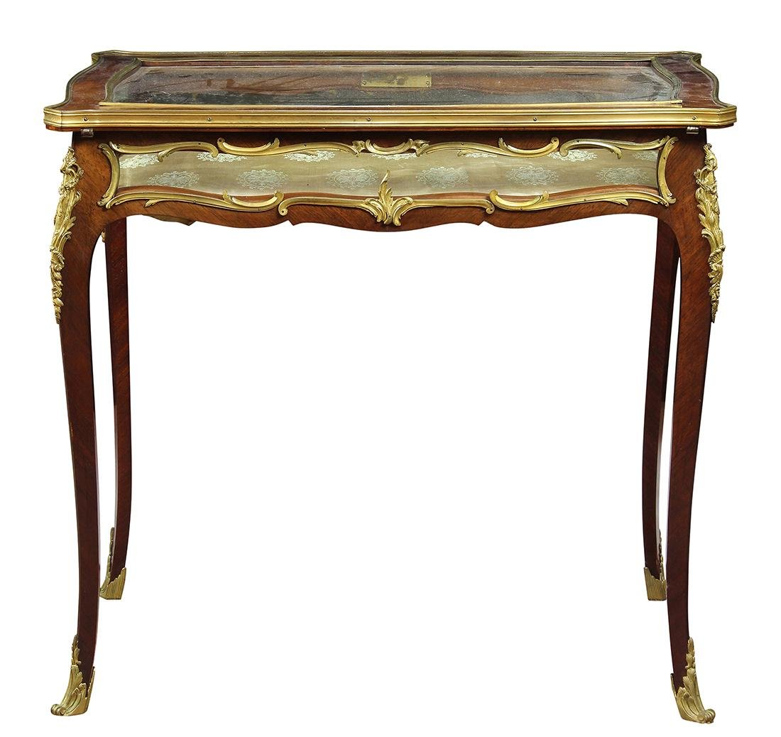 French Louis XV style gilt bronze mounted table vitrine
