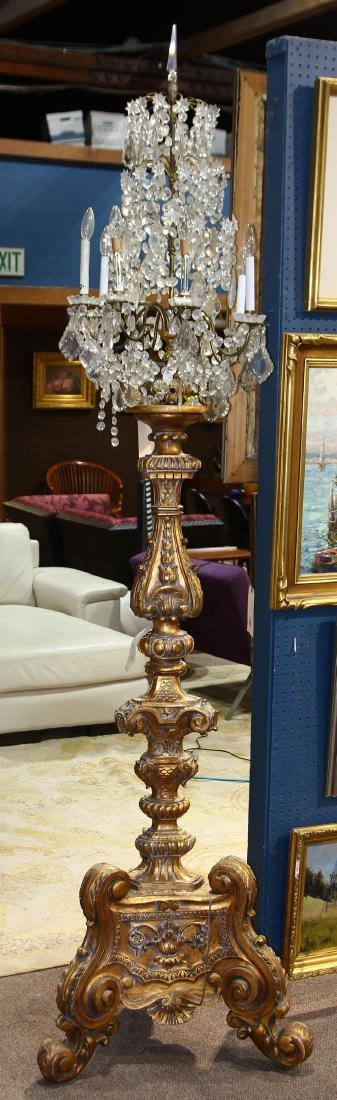 Monumental crystal and gilt candelabra