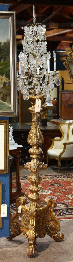 Monumental crystal and gilt candelabra - 2